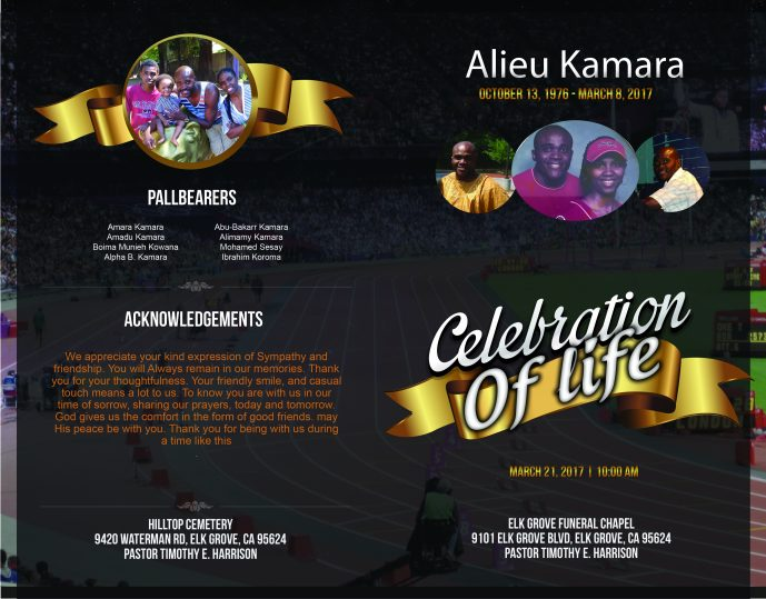 Alieu Kamara Funeral Program Cover